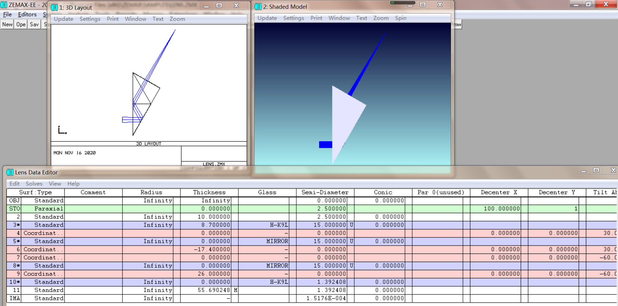 30度转向棱镜――ZEMAX坐标断点法模拟(不用非序列)