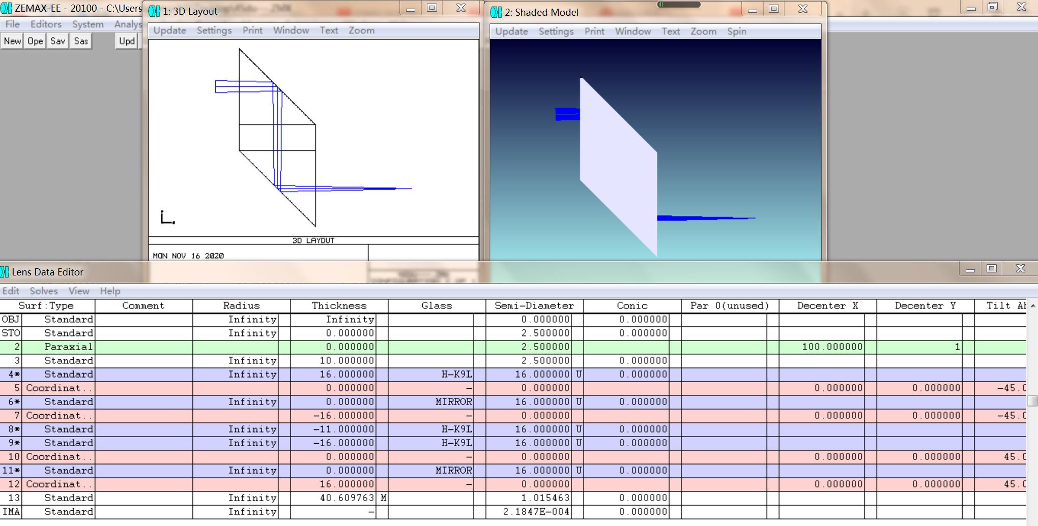 45度棱方棱镜――ZEMAX坐标断点法模拟(不用非序列)